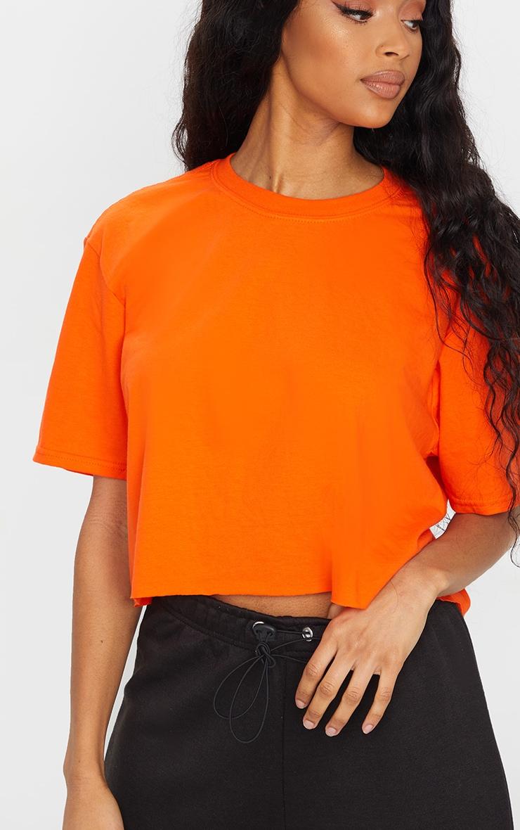 Orange Chaos Dragon Printed Cropped T Shirt 4