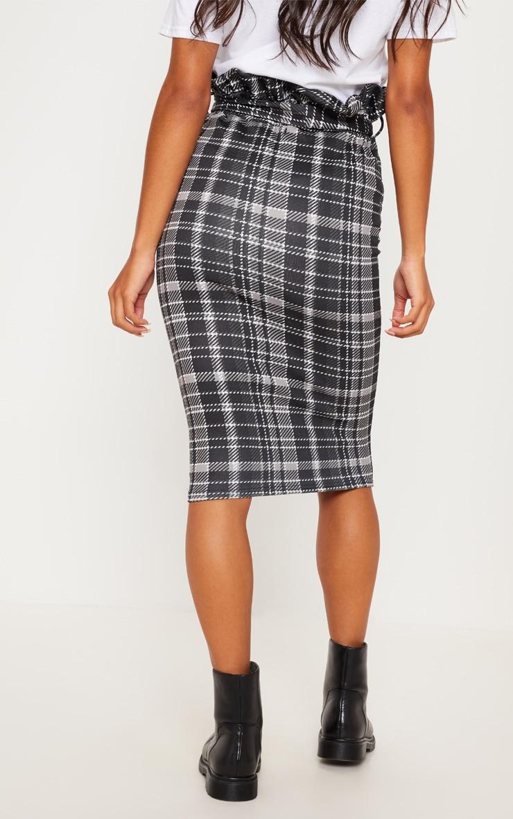 Black Check Paperbag Midi Skirt 4