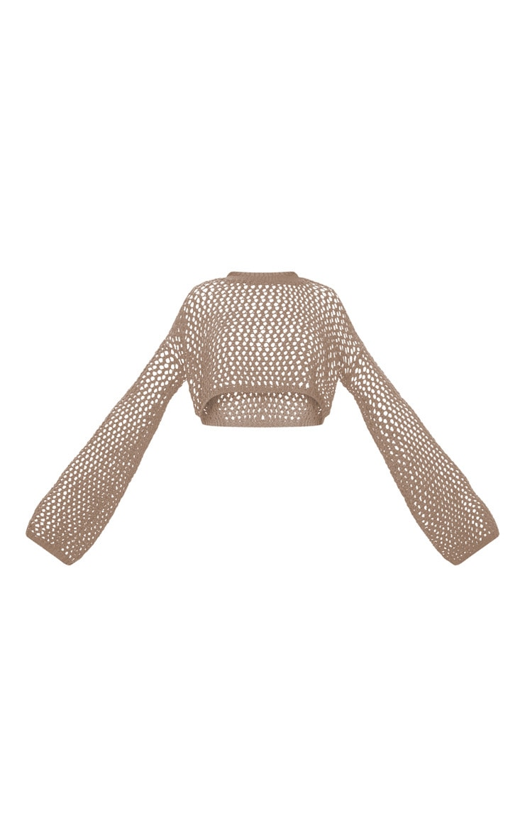 Stone Open Knit Cropped Jumper 5