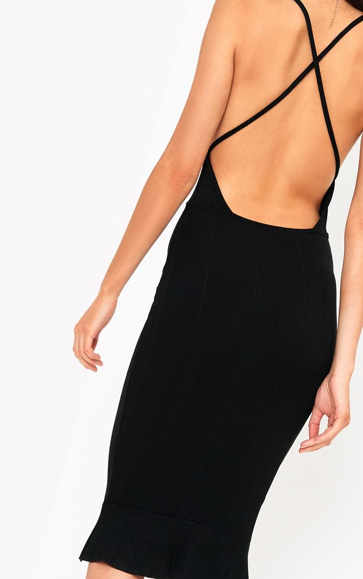 Black Cross Back Frill Hem Bandage Midi Dress 5
