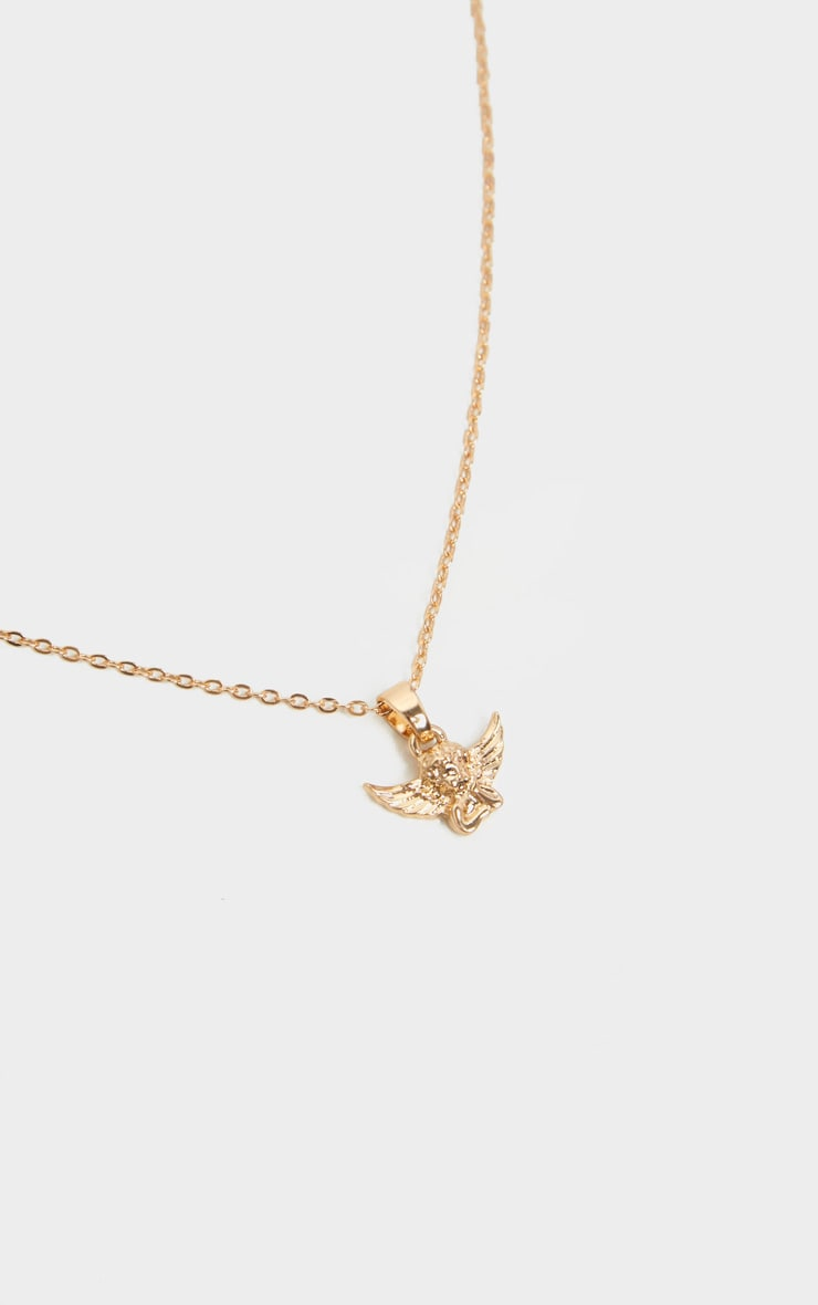 Gold Simple Chain Cherub Necklace by Prettylittlething