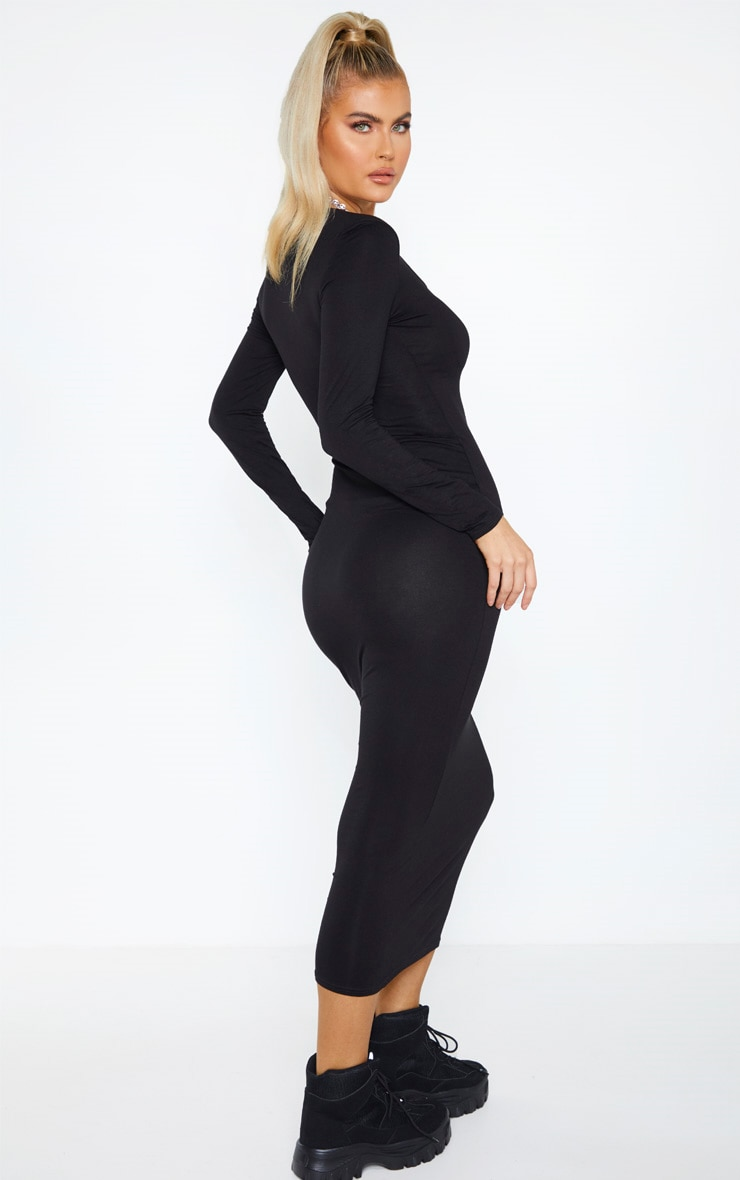 Tall Black Long Sleeve Jersey Maxi Dress 2