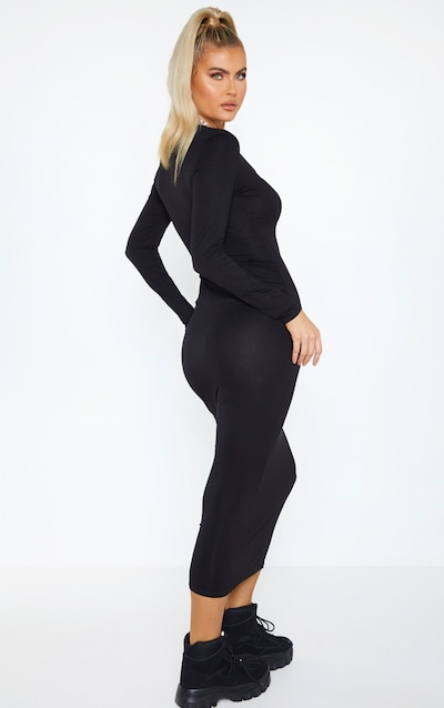 Tall Black Long Sleeve Jersey Maxi Dress