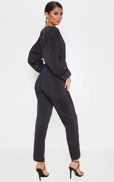 Black Wrap Long Sleeve Woven Jumpsuit