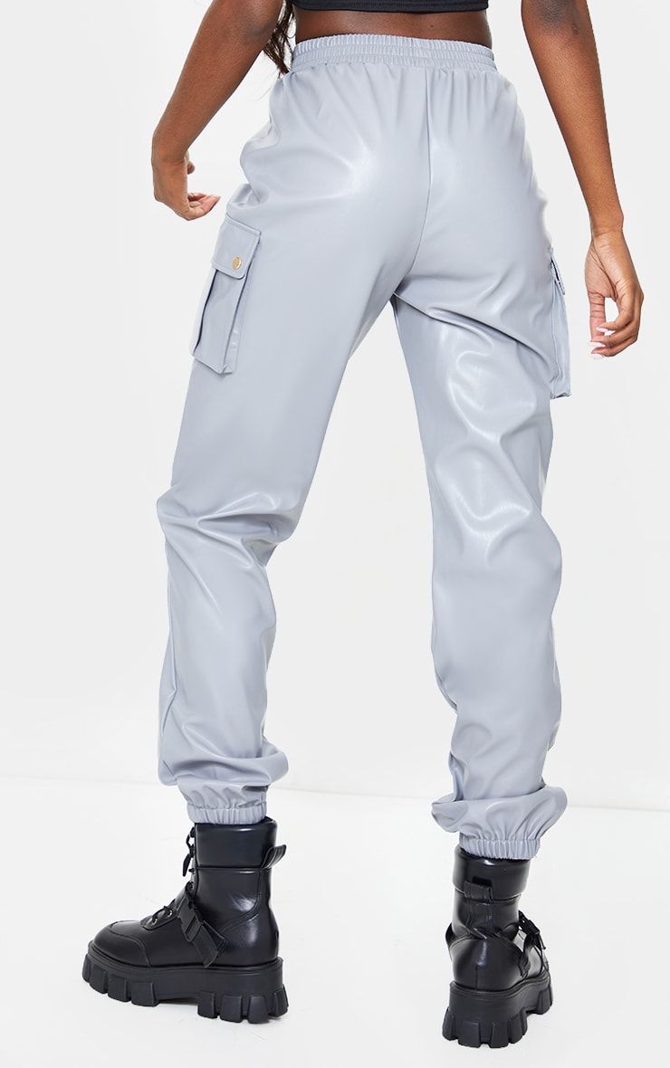 Tall Grey Faux Leather Pocket Detail Joggers 3