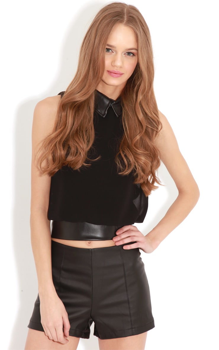 Eden Black Chiffon Blouse With Faux Leather Collar 4