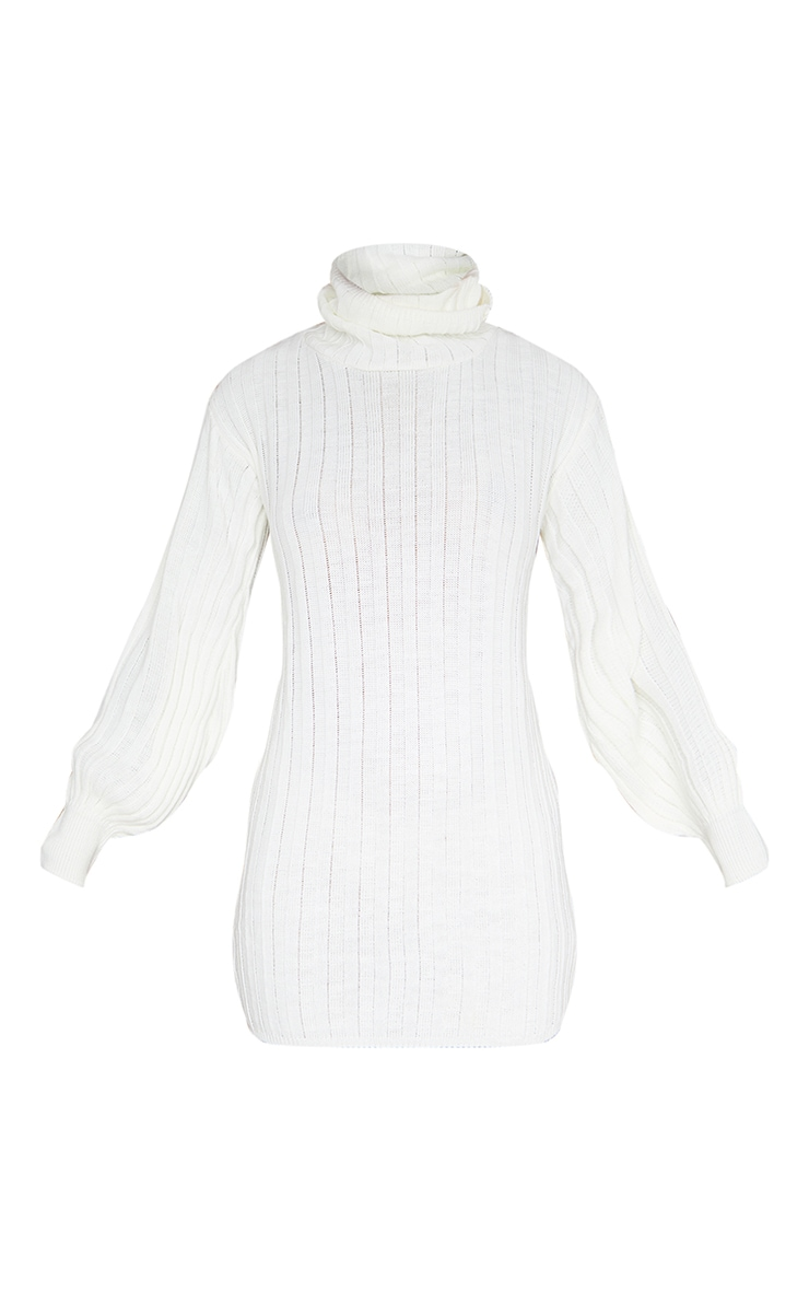 Cream Roll Neck Ribbed Knitted Sweater Dress 6