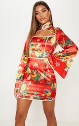 Red Satin Oriental Cut Out Flare Sleeve Bodycon Dress 4