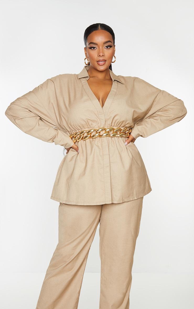 Plus Camel Elasticated Waist Shirt 1