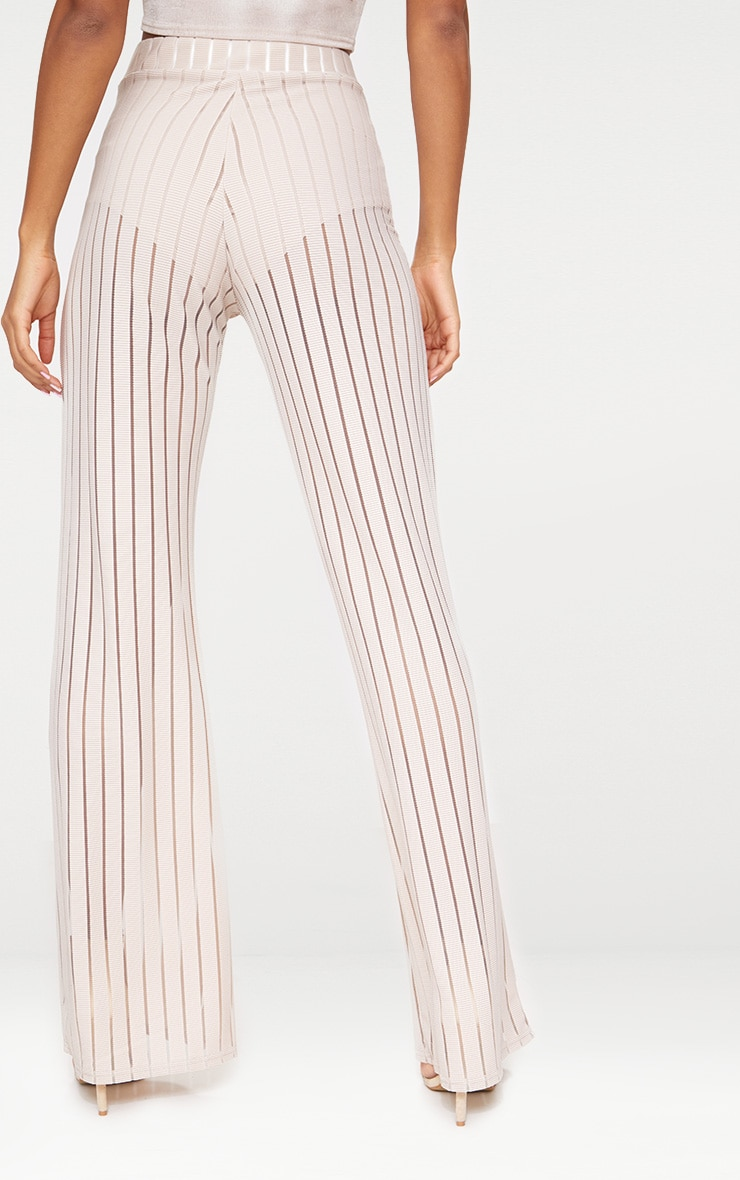 Stone Mesh Stripe High Waisted Wide Leg Trousers 4