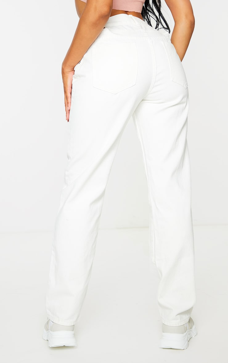 White Strappy Cut Out Hip Straight Leg Jeans 3
