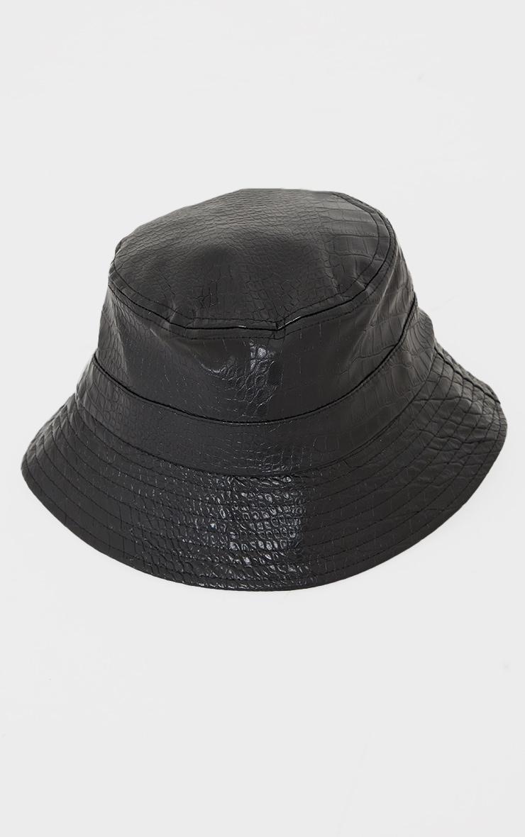 Black Croc PU Bucket Hat 2