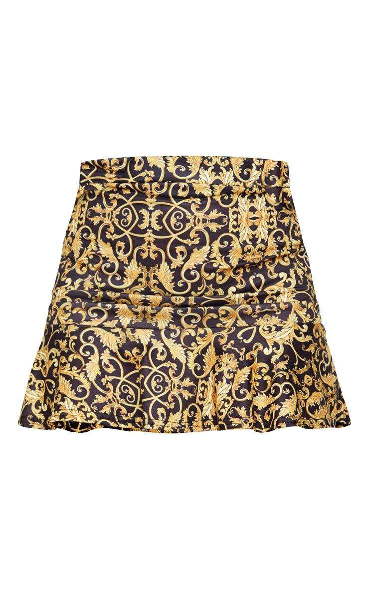 Black Chain Print Flippy Hem Mini Skirt 3