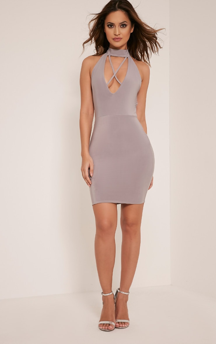 Gabby Grey Choker Cross Front Plunge Bodycon Dress 5
