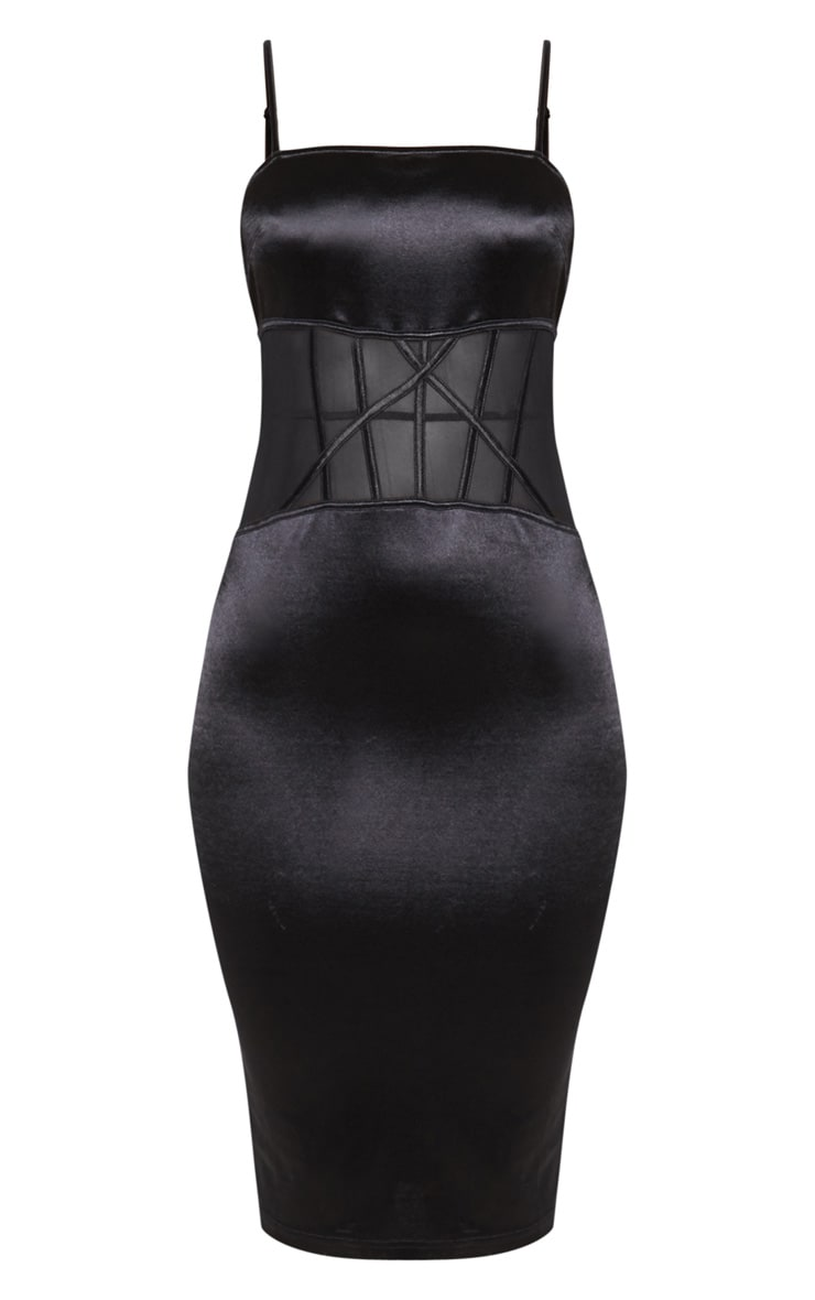 Black Satin Mesh Panel Midi Dress 3
