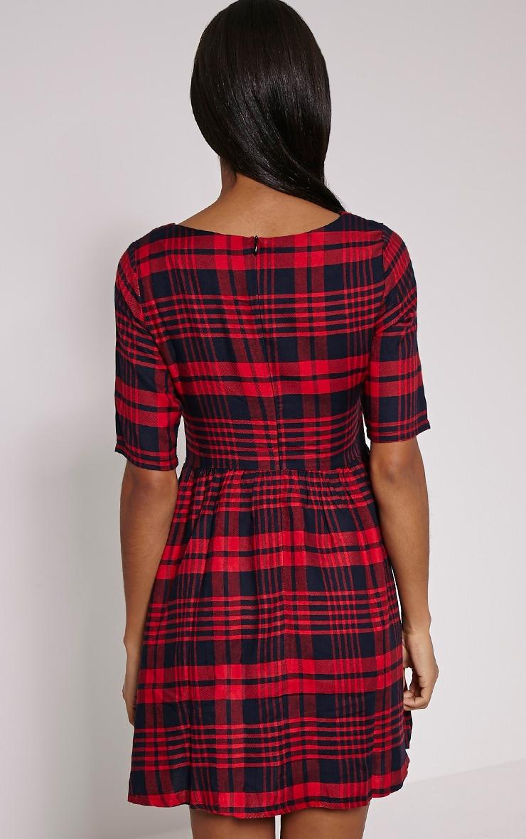Kacia Red Checked Skater Dress 2