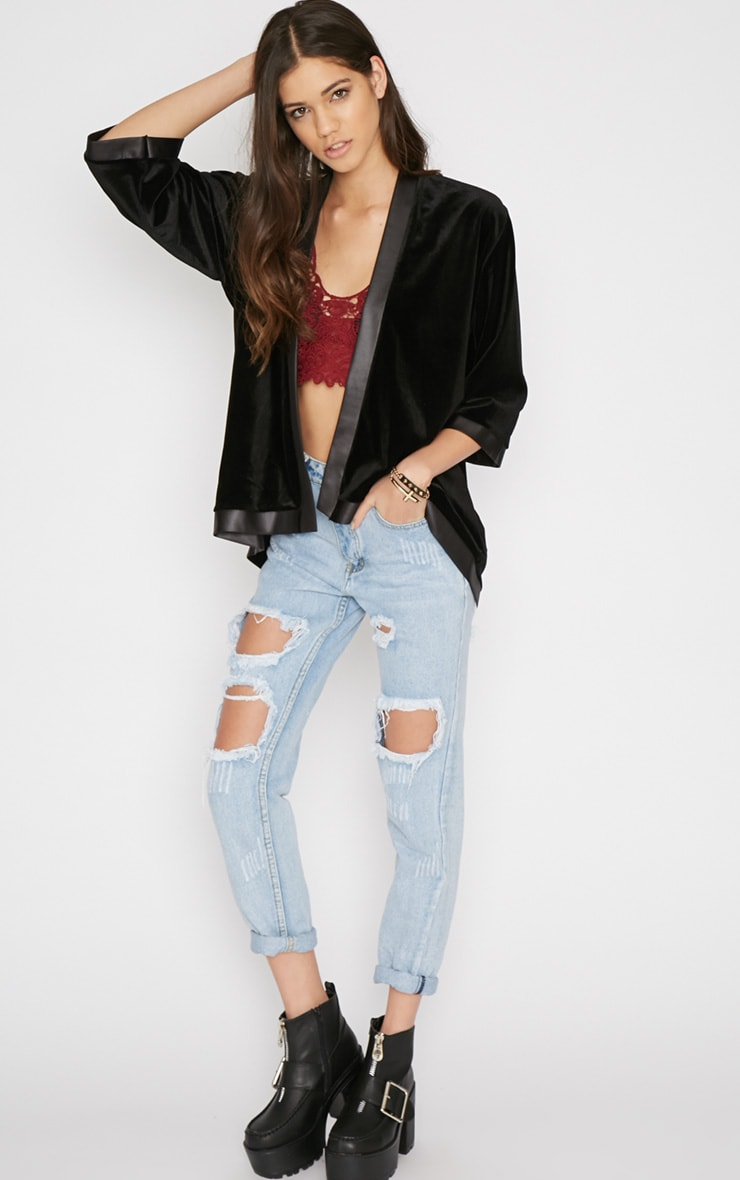 Eliza Black Silk Trim Velvet Kimono Jacket 3