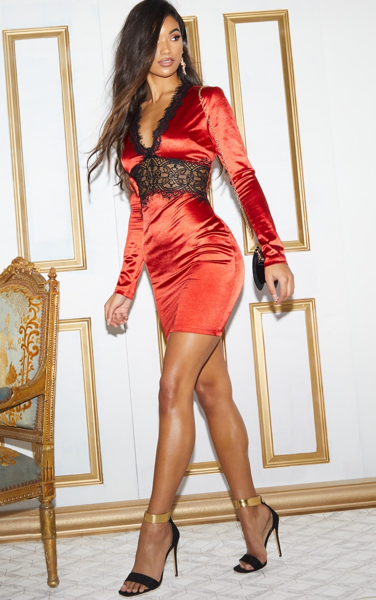 Red Satin Lace Panel Bodycon Dress 6
