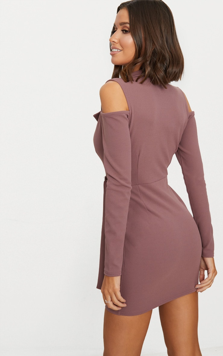 Dark Mauve Cold Shoulder Blazer Dress 2