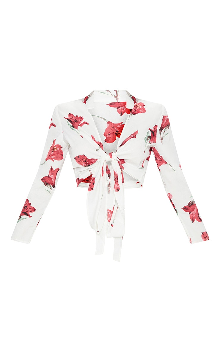 White Rose Print Tie Front Blouse 3