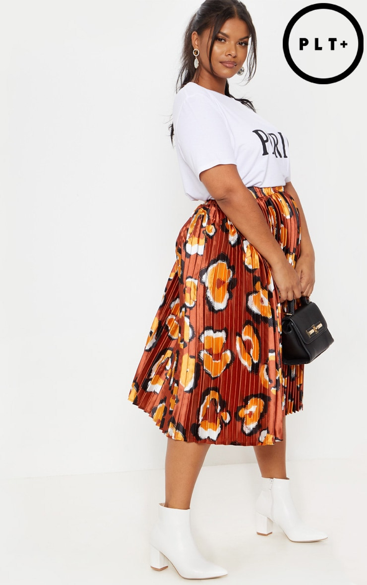 Plus Rust Leopard Print Pleated Midi Skirt 1