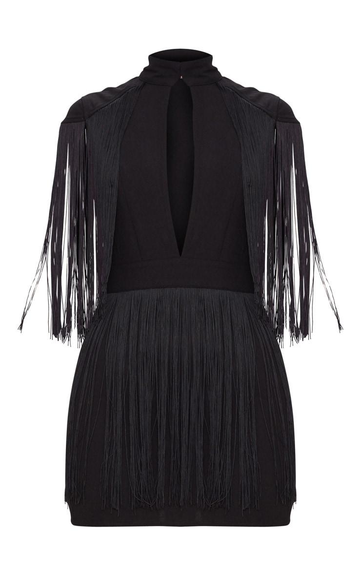 Black Tassel Cap Sleeve Plunge Bodycon Dress  3