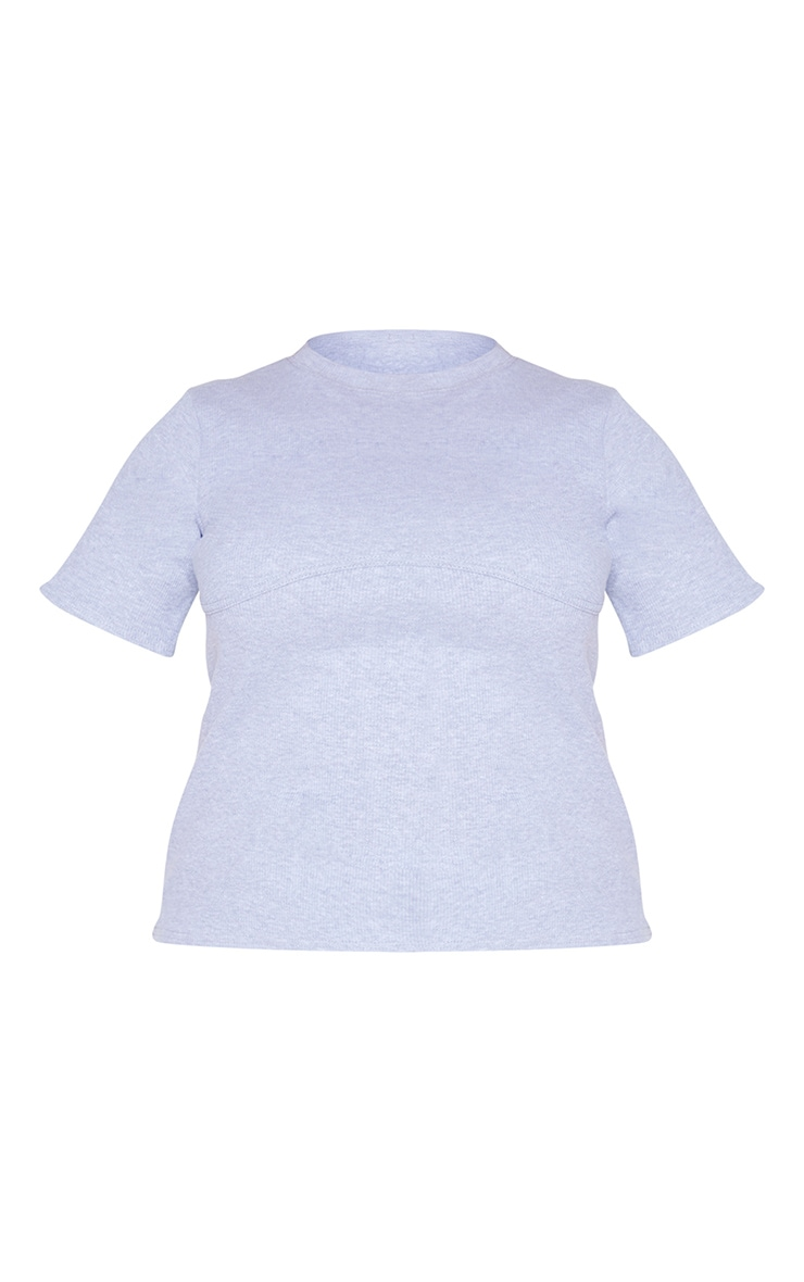 Plus Grey Binding Detail Ribbed Knit T-Shirt 5