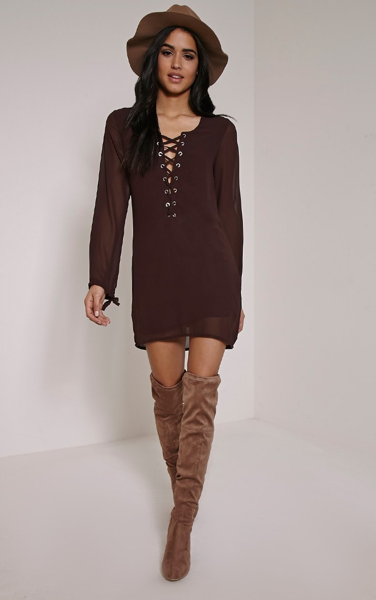 Pammy Chocolate Brown Lace Up Shift Dress 3