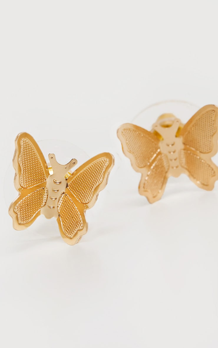 Gold Simple Butterfly Stud Earrings 3
