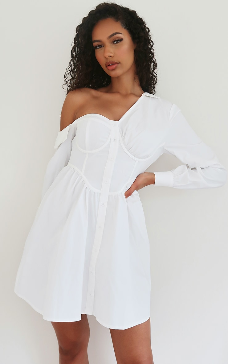 White Off The Shoulder Corset Detail Shift Shirt Dress 1