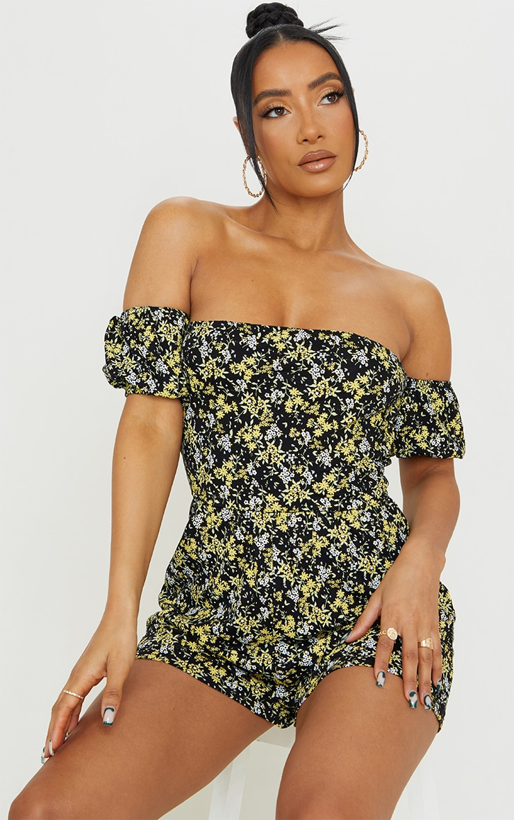 Black Ditsy Floral Tie Back Puff Bardot Playsuit 2