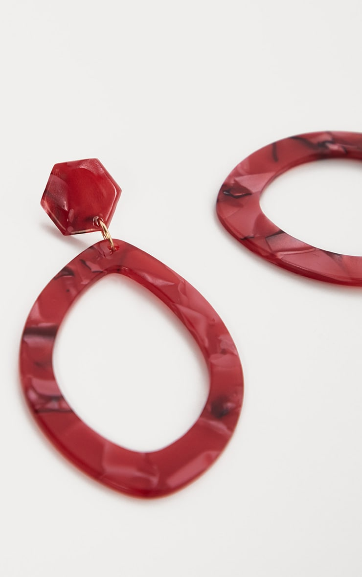 Boucles d'oreilles pendantes ovales effet marbre rouge 3