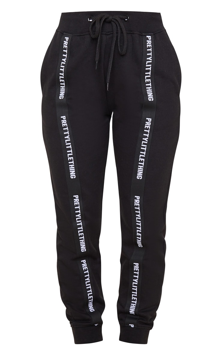 PRETTYLITTLETHING Black Tape Detail Jogger 3