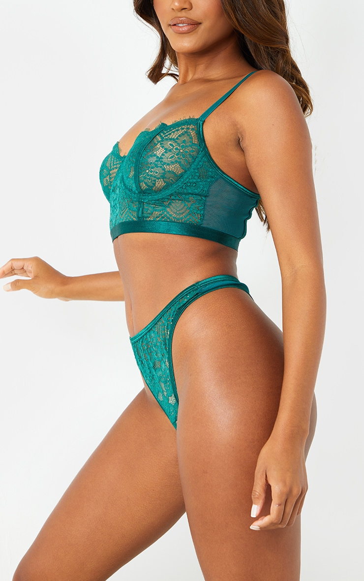 Emerald Green Underwired Longline Delicate Floral Lace Bra 2