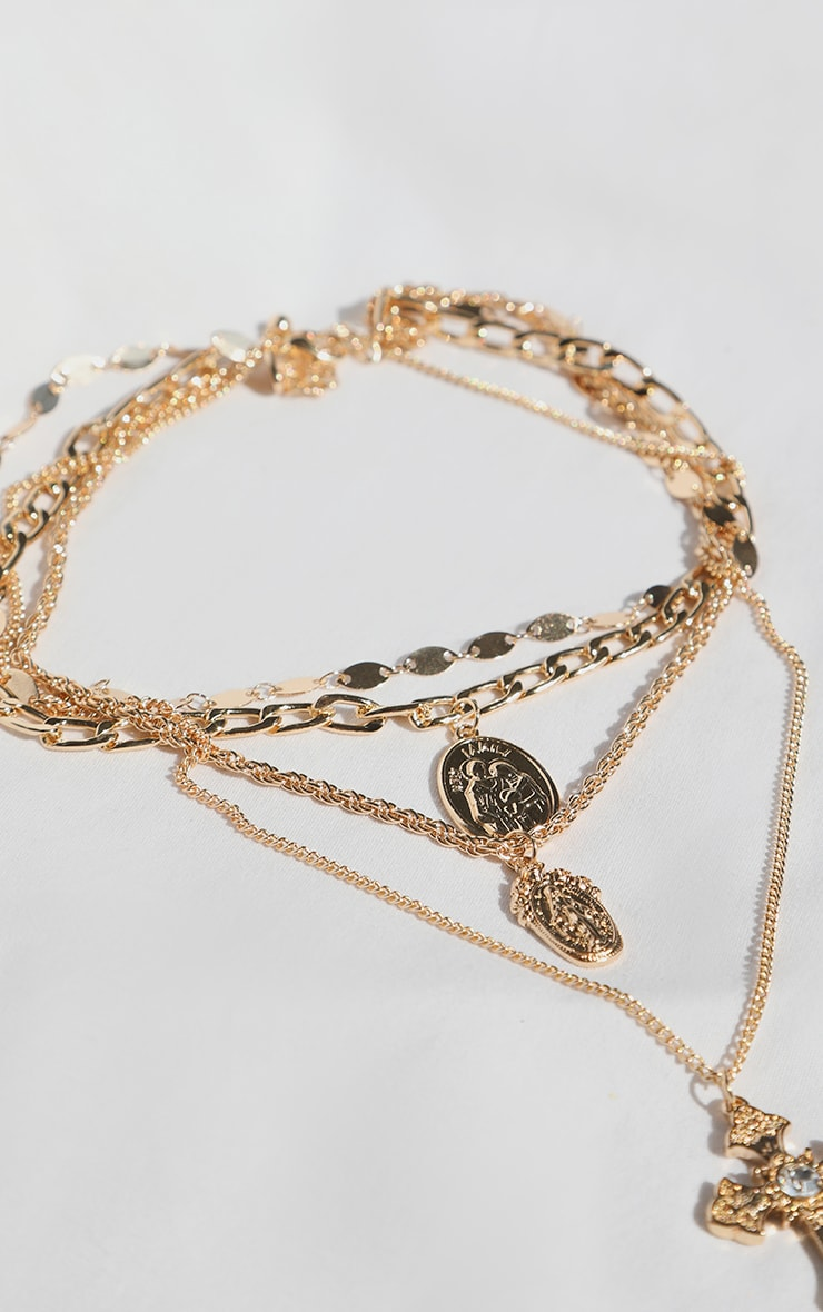 Gold Multi Chain Cross Necklace 2