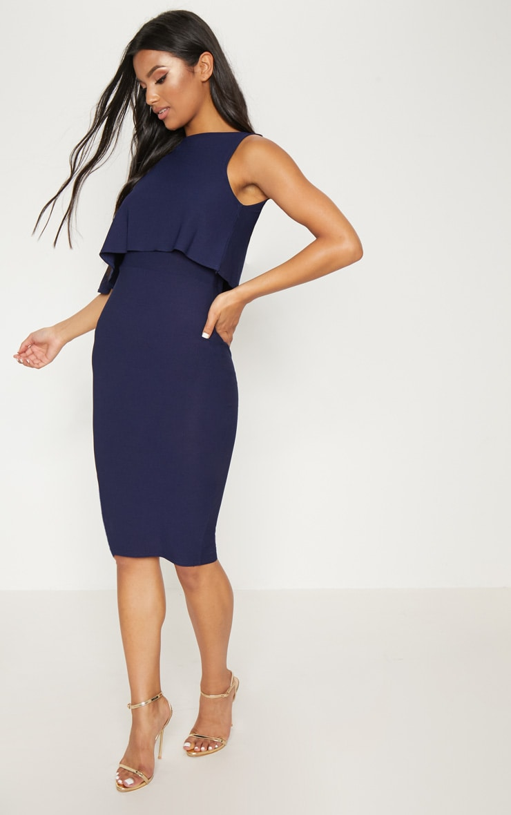 Navy One Shoulder Cape Detail Midi Dress 4