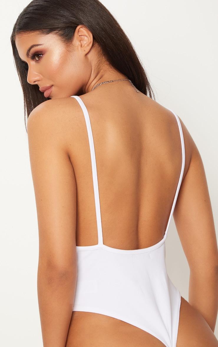 White Crepe Plunge Bodysuit 6