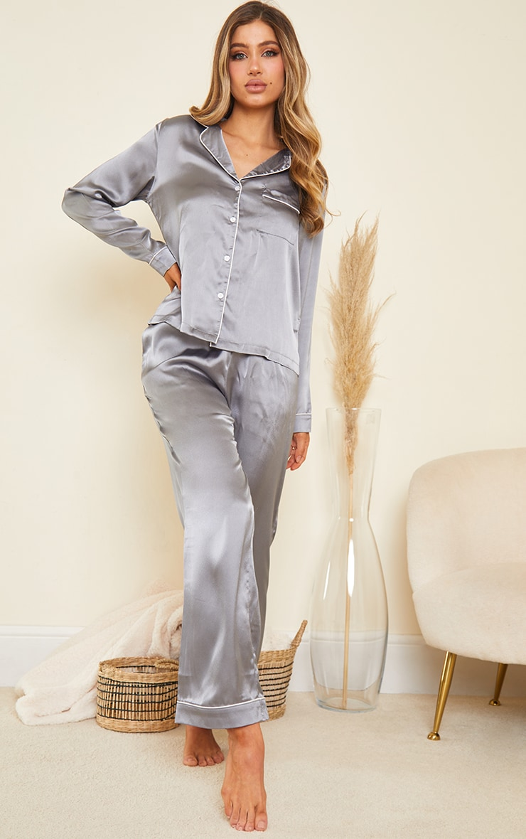 Grey Mix And Match Piped Detail Satin PJ Pants 1