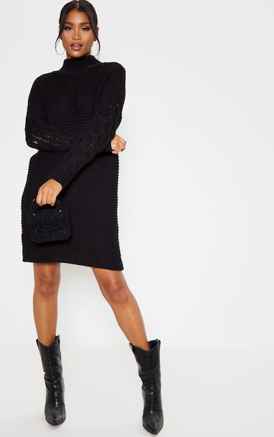 Black Cable Sleeve Roll Neck Knitted Jumper Dress