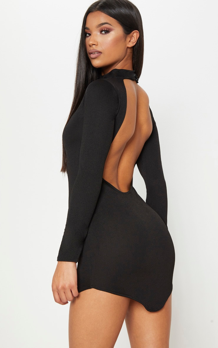 Black High Neck Extreme Scoop Back Pointy Hem Bodycon Dress 1