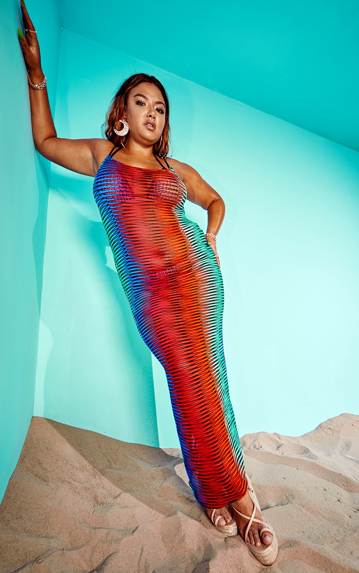 Plus Multi Laser Cut Striped Maxi Beach Dress 3