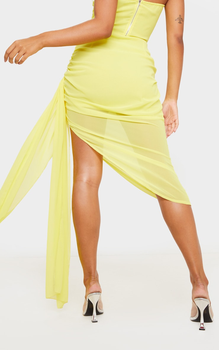 Yellow Woven Ruched Side Panel Midi Skirt 3
