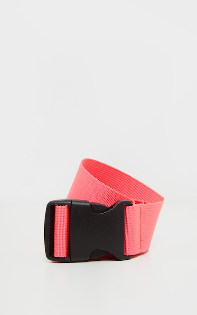 Neon Pink Slider Buckle Tape Belt