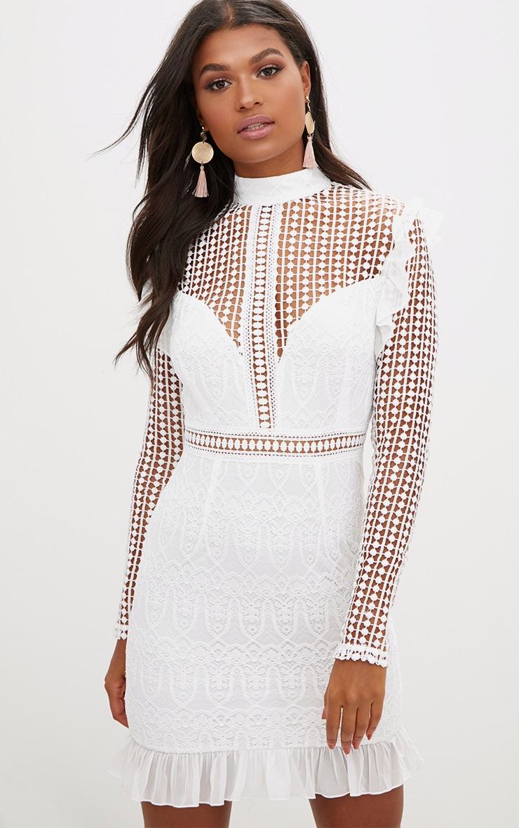 White Lace Chiffon Frill Detail Bodycon Dress 1