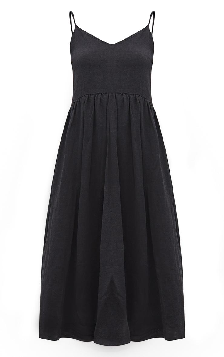Black Linen Strappy Midaxi Dress 5