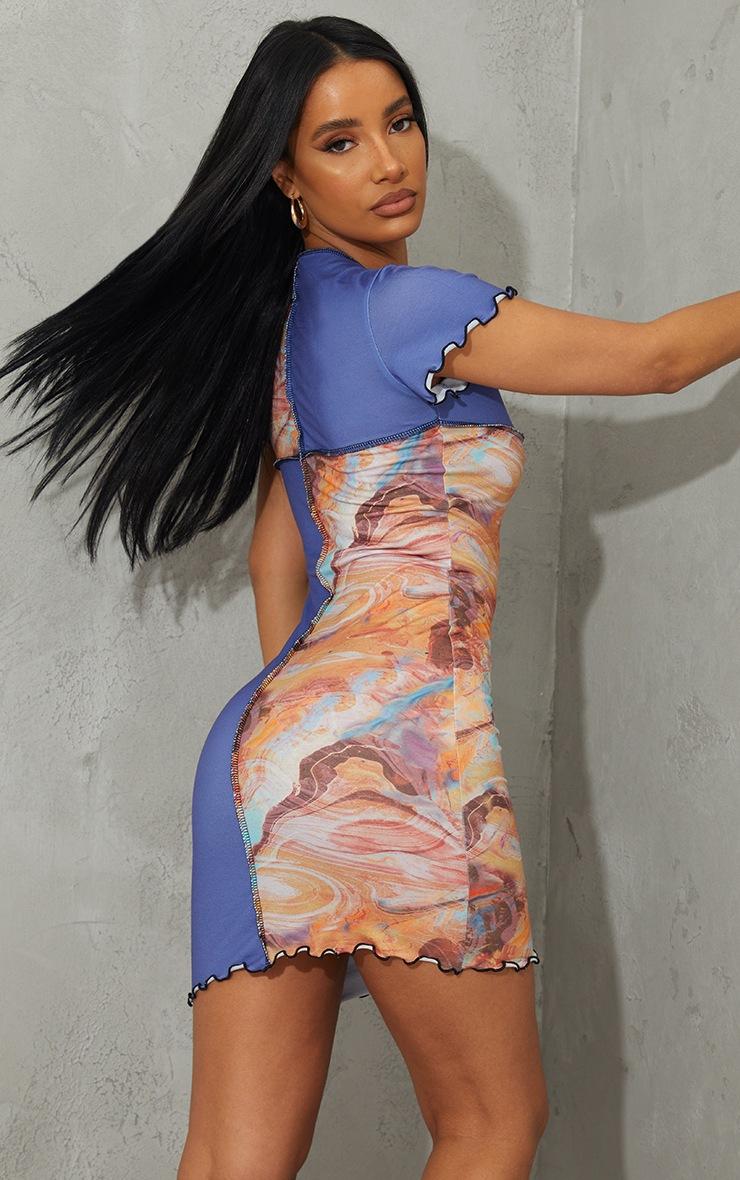 Multi Marble Contrast Seam Block Short Sleeve Bodycon Dress 2