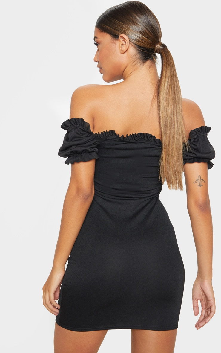 Black Short Sleeve Tie Front Hook And Eye Bodycon Dress 2