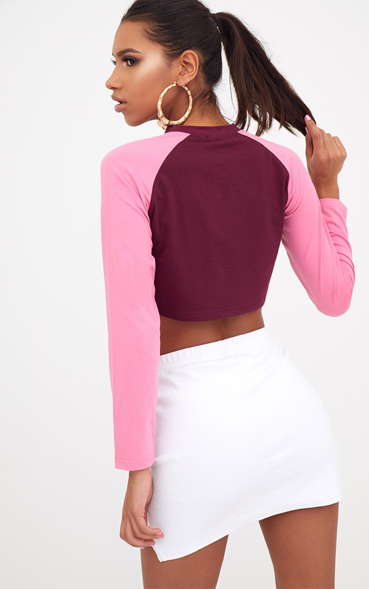 Burgundy/Pink Sleeves Remastered Slogan Longsleeve Crop Top  2