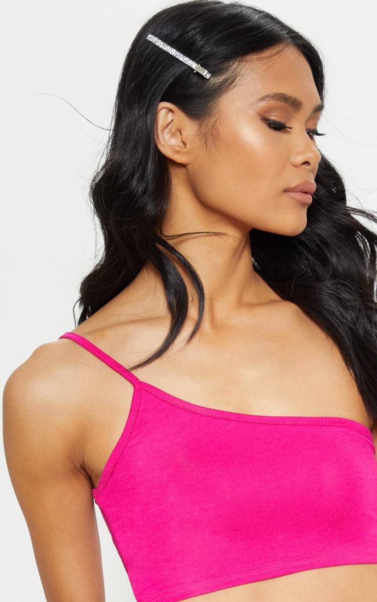 Basic Hot Pink One Shoulder Strappy Crop Top 5