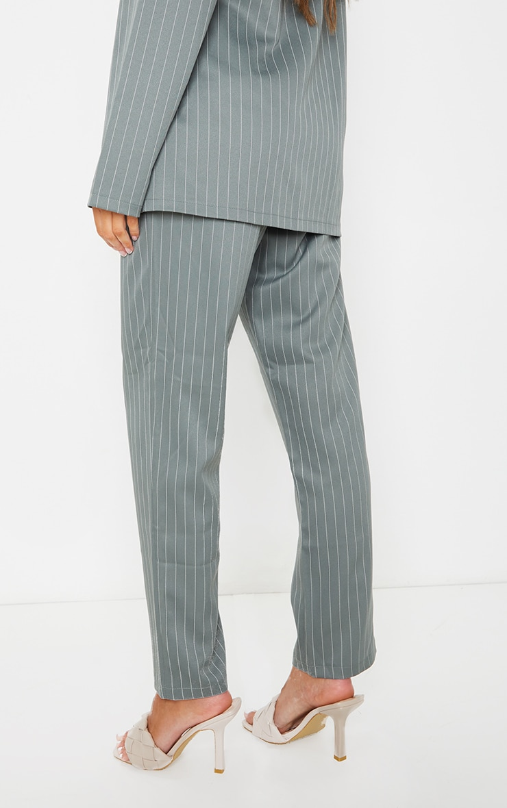 Teal Pinstripe Belted Straight Leg Trousers 3